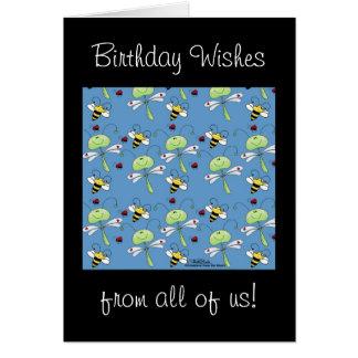 Cartão Colagem dos joaninhas das abelhas das libélulas