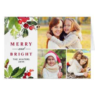 Cartão Colagem floral da foto da aguarela do Natal  