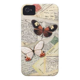 Cartão & colagem velhos das borboletas capinha iPhone 4