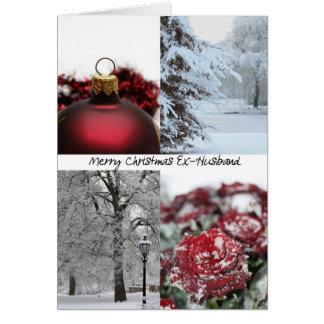 Cartão Colagem vermelha do inverno do Natal do Ex-Marido