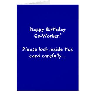 Cartão Colega de trabalho do feliz aniversario! Olhe por