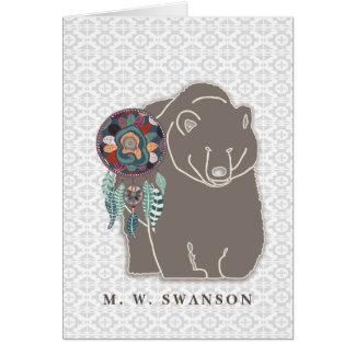 Cartão Coletor ideal com o nativo americano do urso de