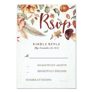 Cartão Colheita Rsvp Wedding rústico da queda