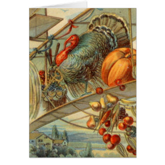 Cartão Colheita Turquia e biplano