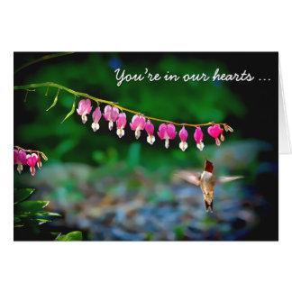 Cartão Colibri dos corações de sangramento que pensa de