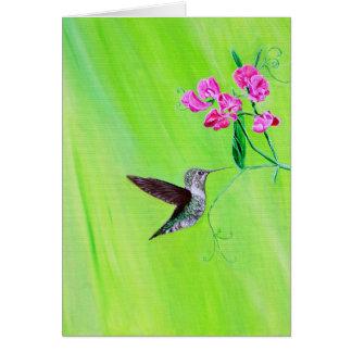 Cartão Colibri & ervilhas doces