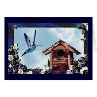 Cartão Colibri, mirtilos & abelhas