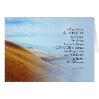 Cartão Colinas do ouro da oração da serenidade