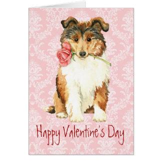 Cartão Collie cor-de-rosa dos namorados