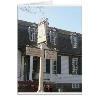 Cartão Colonial Williamsburg do sinal dos reis Braço