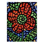 Cartão colorido da arte da flor vermelha abstrata cartões postais