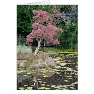Cartão colorido da árvore de bordo japonês