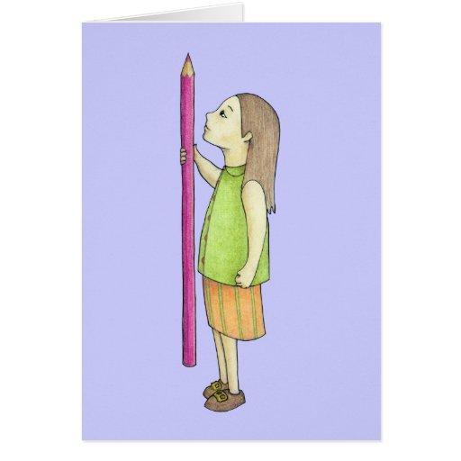 Cartão colorido da menina do lápis