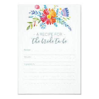 Cartão colorido da receita das flores para o chá
