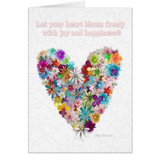 Cartão colorido das citações do coração das flores