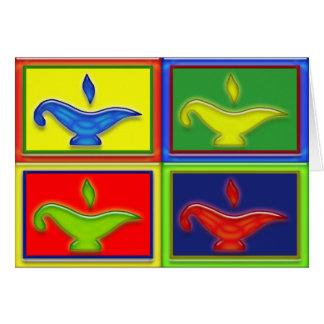 Cartão colorido de Diwali das lâmpadas