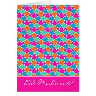 Cartão colorido de Eid, teste padrão islâmico Cartão Comemorativo