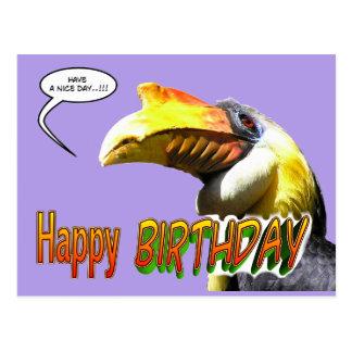 Cartão colorido do aniversário do Hornbill