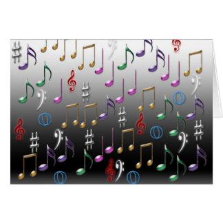 Cartão colorido do design das notas musicais