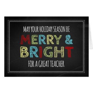 Cartão colorido do Feliz Natal do professor do qua