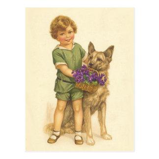 Cartão colorido do vintage da criança e do cão