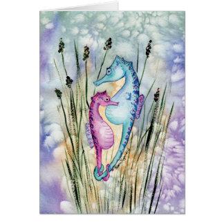 Cartão colorido dos cavalos marinhos