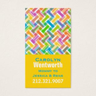 Cartão colorido dos trabalhos em rede das mamães