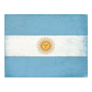 Cartão com a bandeira afligida de Argentina