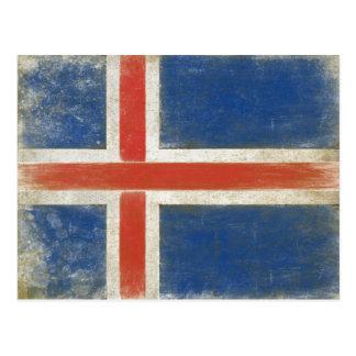 Cartão com a bandeira afligida de Islândia