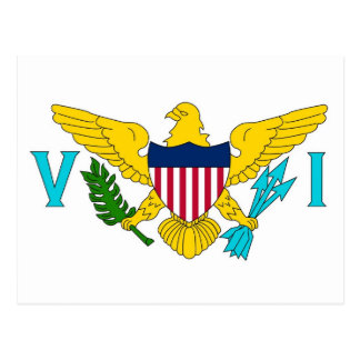 Cartão com a bandeira das ilhas de Virgin EUA