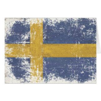 Cartão com a bandeira suja do vintage da suecia