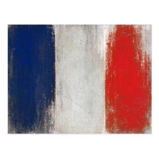 Cartão com a bandeira suja do vintage de France