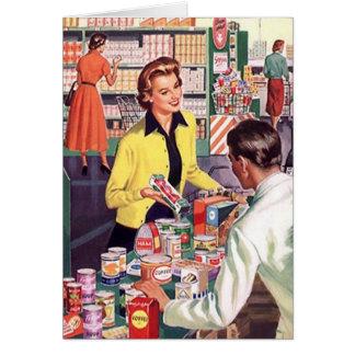 Cartão com a senhora feliz na mercearia da