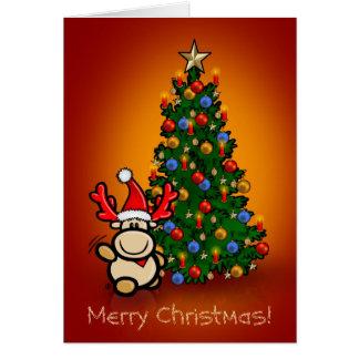 Cartão com alce Elmondo e árvore de natal
