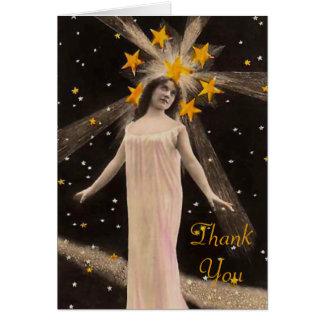 Cartão Com as estrelas em seu obrigado principal você