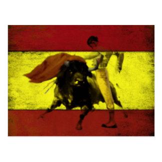 Cartão com Bullfight na bandeira espanhola suja Cartão Postal