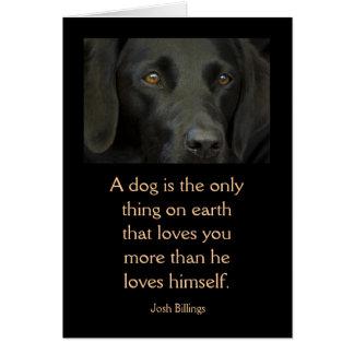 Cartão com citações - cão preto de Labrador