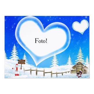 """Cartão com coração para colocar foto """"Natal"""" Convite 13.97 X 19.05cm"""