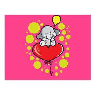Cartão com elefante e balões