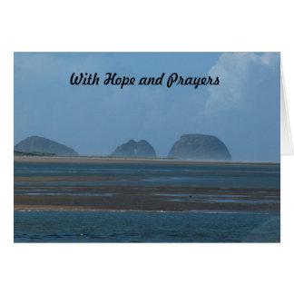 Cartão com esperança e orações