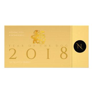 Cartão com fotos 2018 chinês do monograma de