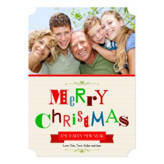 Cartão com fotos 5x7 do Feliz Natal Convite Personalizado