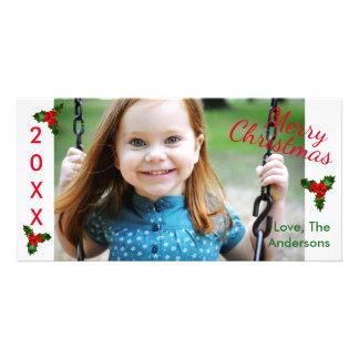 Cartão com fotos alegre branco do Natal-Natal do Cartão Com Foto
