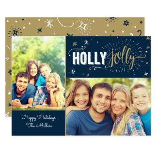 Cartão com fotos alegre do azevinho convite 12.7 x 17.78cm