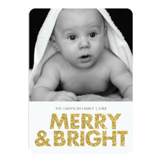 Cartão com fotos alegre do brilho-olhar - cantos convite 12.7 x 17.78cm