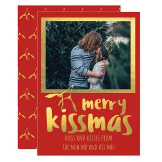 Cartão com fotos alegre do feriado de Kissmas do