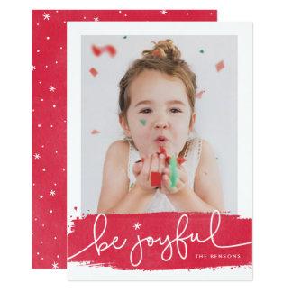 Cartão com fotos alegre do feriado do Brushstroke