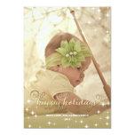 Cartão com fotos alegre do ouro das luzes boas convites personalizados