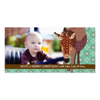 Cartão com fotos alegre do verde do Natal de Moses