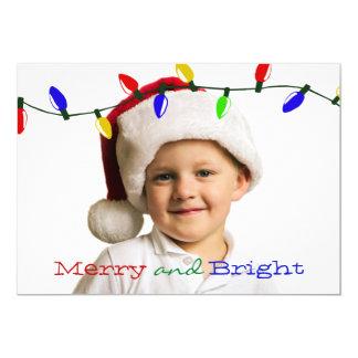 Cartão com fotos alegre e brilhante do feriado das convite 12.7 x 17.78cm